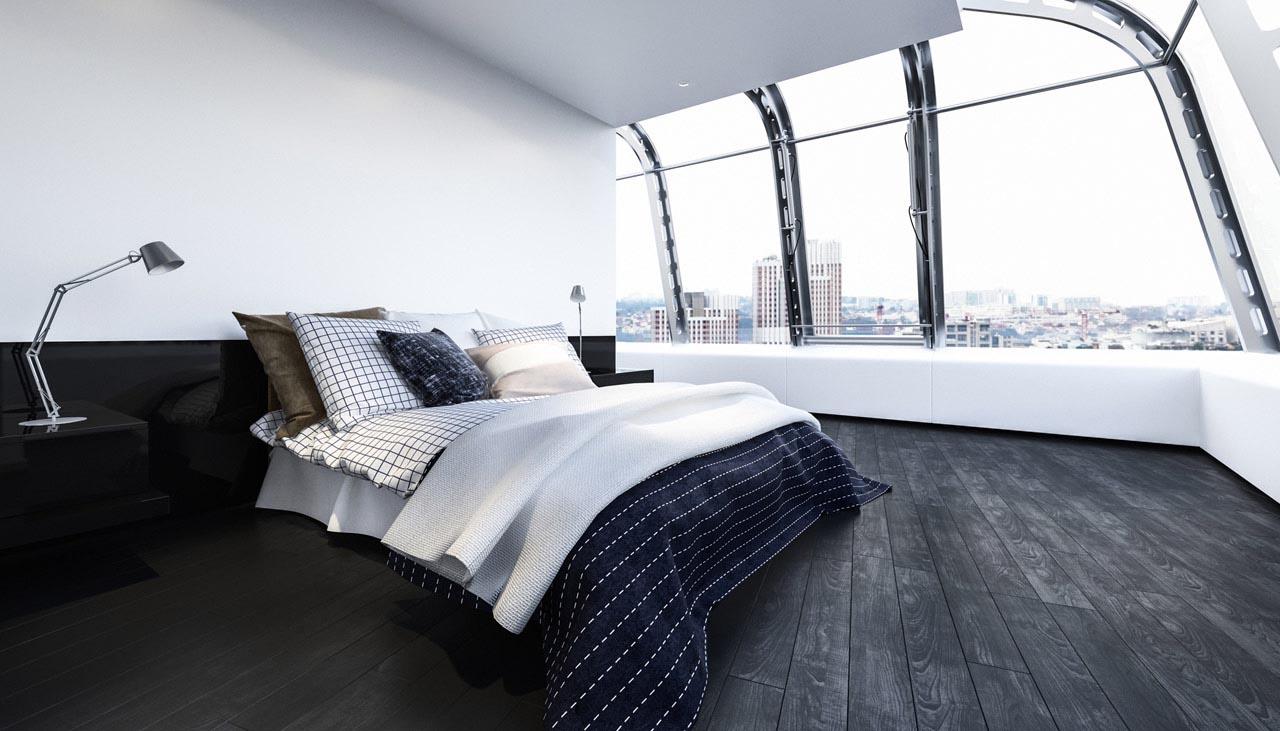 Modernes Schlafzimmer mit Ausblick