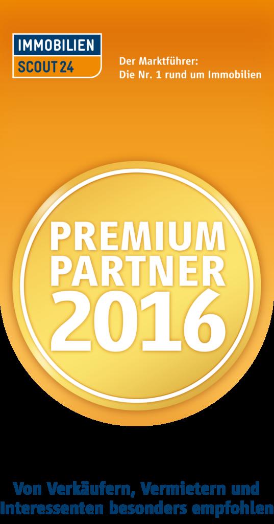 Immobilien Scout 24 Premium Partner 2016 Siegel